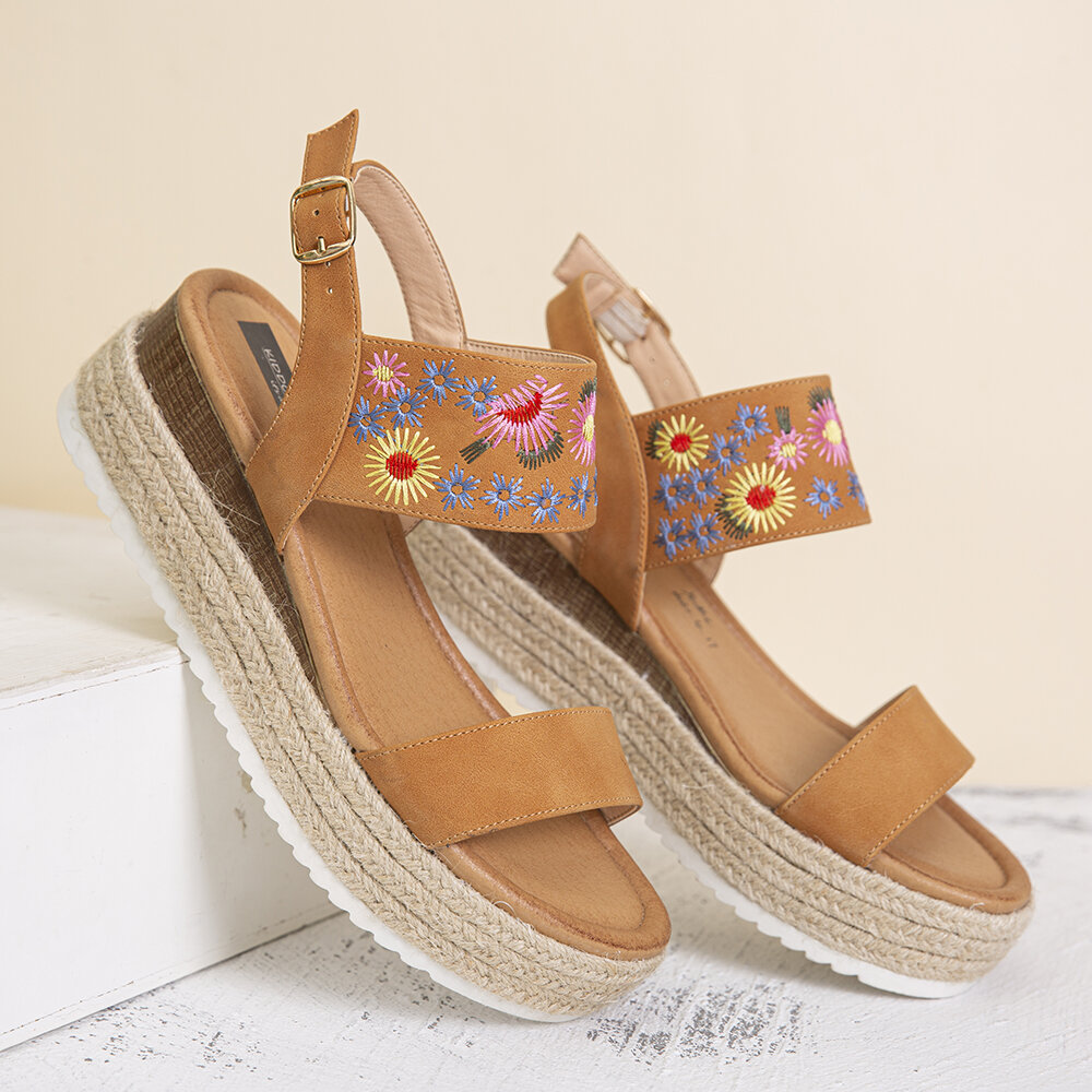 Women Flowers Embroidered Non Slip Slingback Braided Platform Sandals