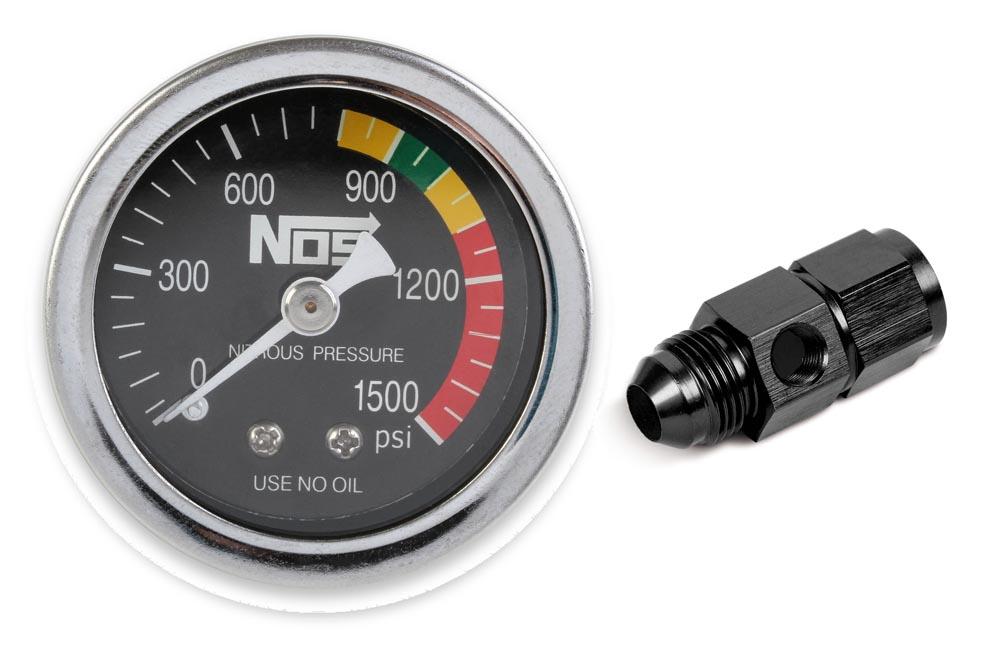 NOS 15951NOS/Nitrous Oxide System GAUGE,N2O,BLACK W/AN8 ADAPTER, DRY