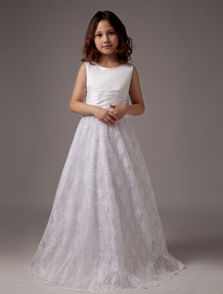 Milanoo White Bow A-Line Lace Satin Flower Girl Dress