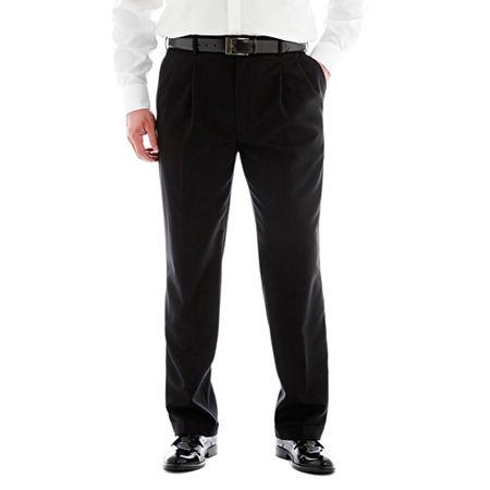 Stafford Sharkskin Pleated Pants-Big & Tall, 50 34, Brown