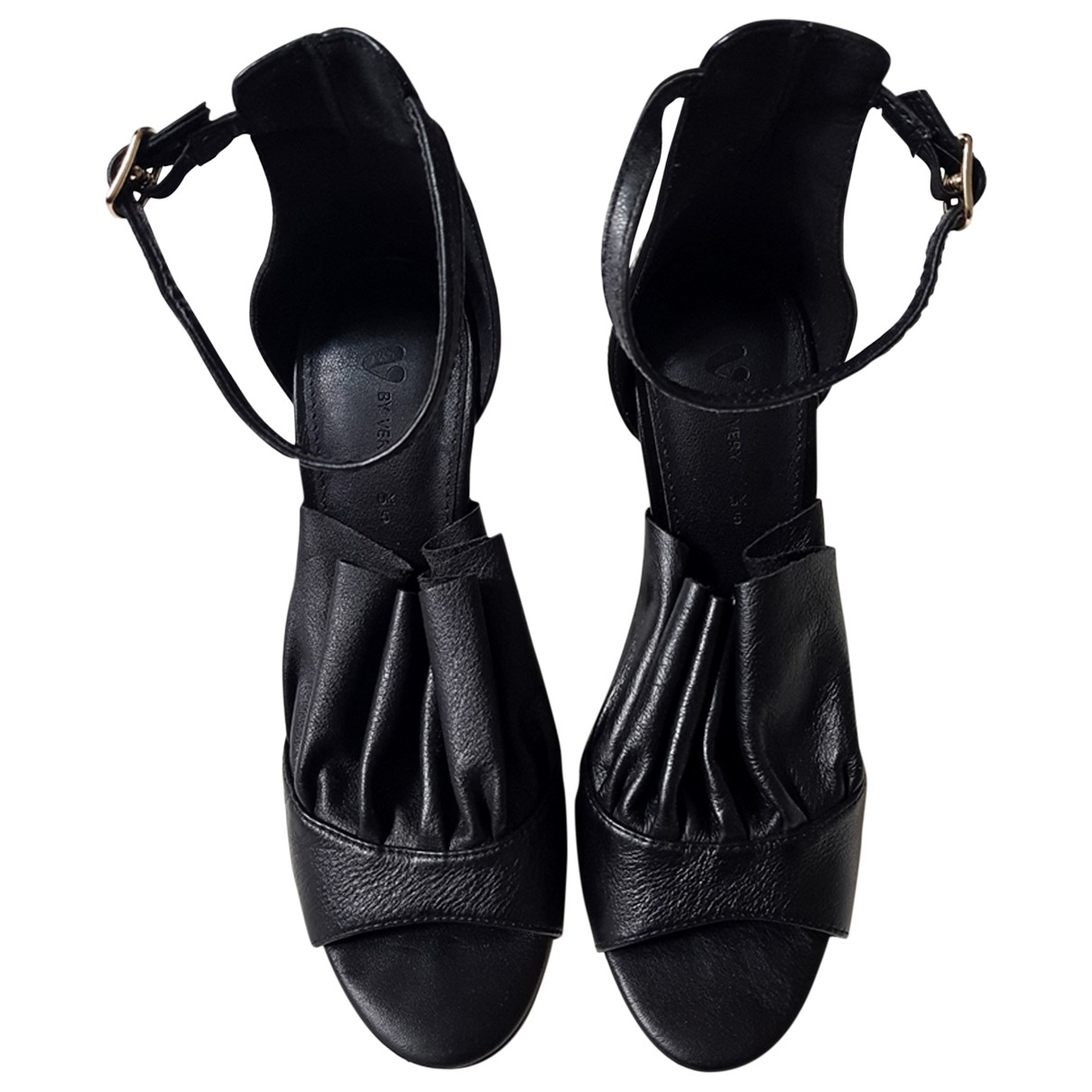 Non Signé / Unsigned \N Black Leather Heels for Women 38 EU
