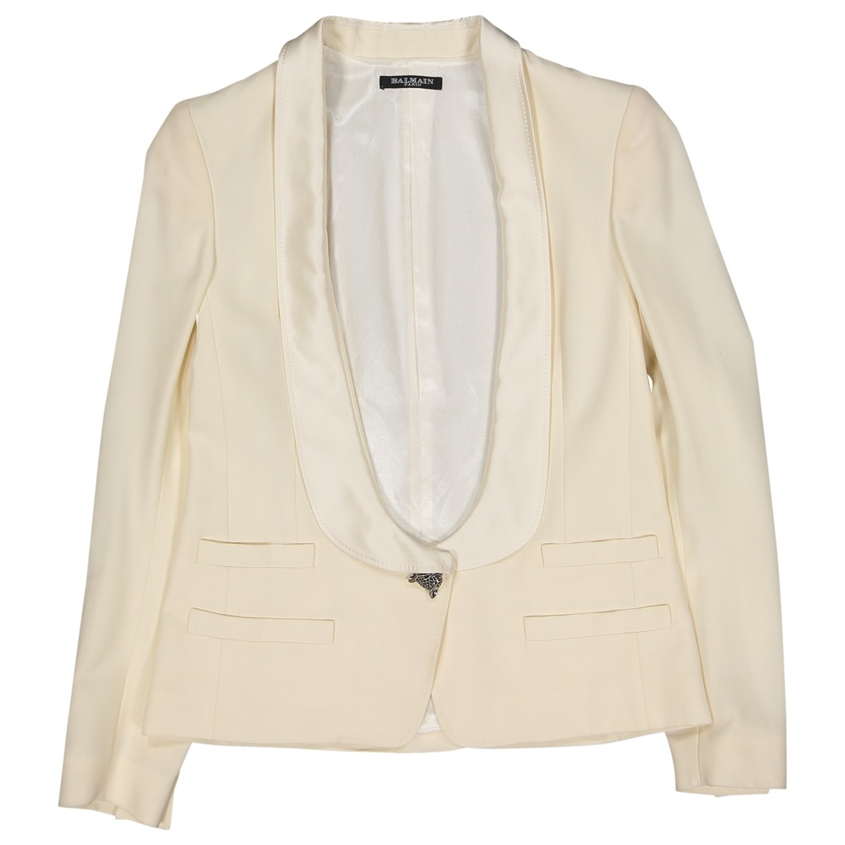 Balmain \N Ecru Wool jacket for Women 36 FR