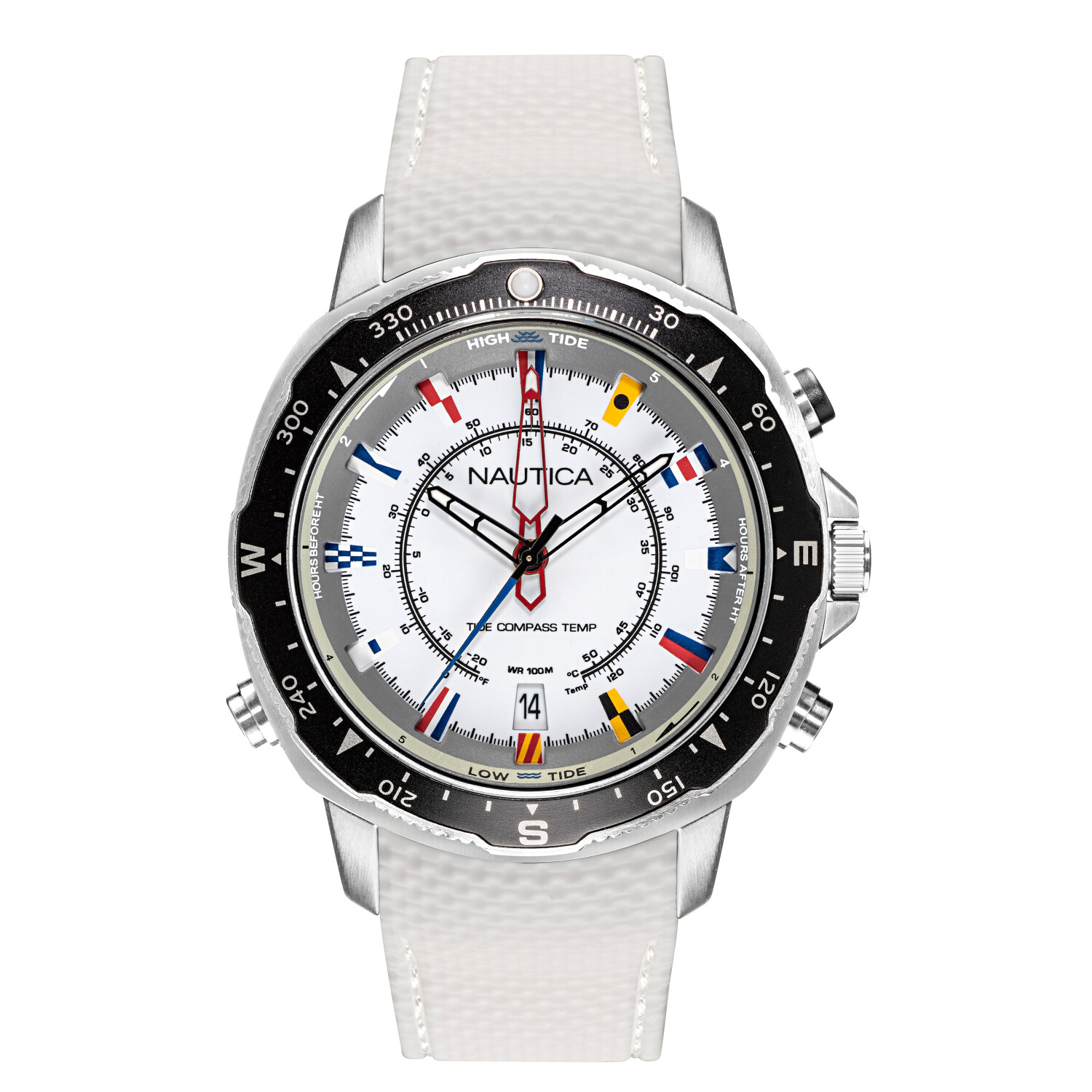 Nautica Watch NAPSSP903 Soledad South, Analog, Water Resistant, Compass, Temperature Indicator, Signal Flag Indexes, White