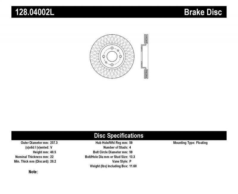 StopTech 128.04002L Sport Cryo Cross Drilled Brake Rotor; Front Right Fiat 500 Front Left 2012-2017 1.4L 4-Cyl
