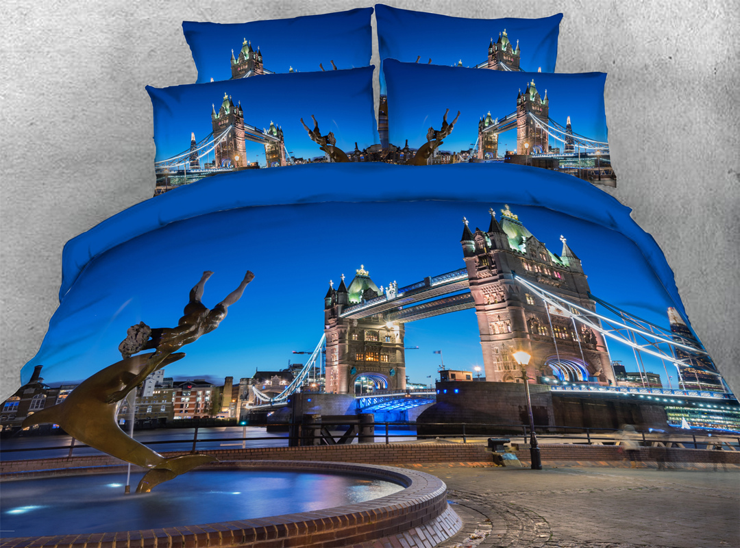 London Bridge 3D Comforter Soft Lightweight 5Pcs Scenery Comforter Sets