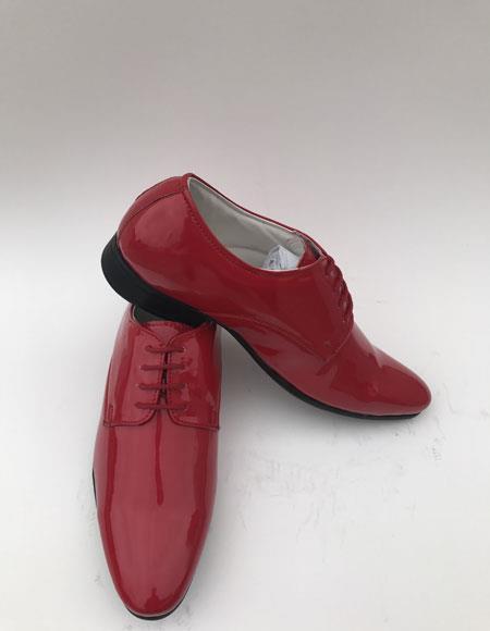 Men's Plain Toe Lace Up Style Red formal Shiny Tuxedo Dress Shoes