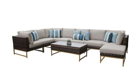 Barcelona BARCELONA-09d-GLD-BEIGE 9-Piece Patio Set 02a with 3 Corner Chairs  4 Armless Chairs  1 Coffee Table and 1 Ottoman - 2 Beige Covers with