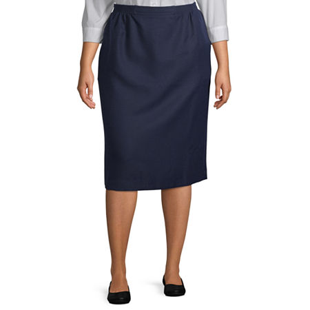 Alfred Dunner Suiting Womens Pencil Skirt-Plus, 20W , Blue