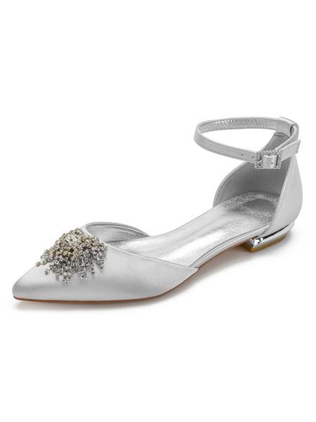 Milanoo Wedding Shoes Satin Ivory Pointed Toe Rhinestones Flat Ankle Strap Bridal Shoes