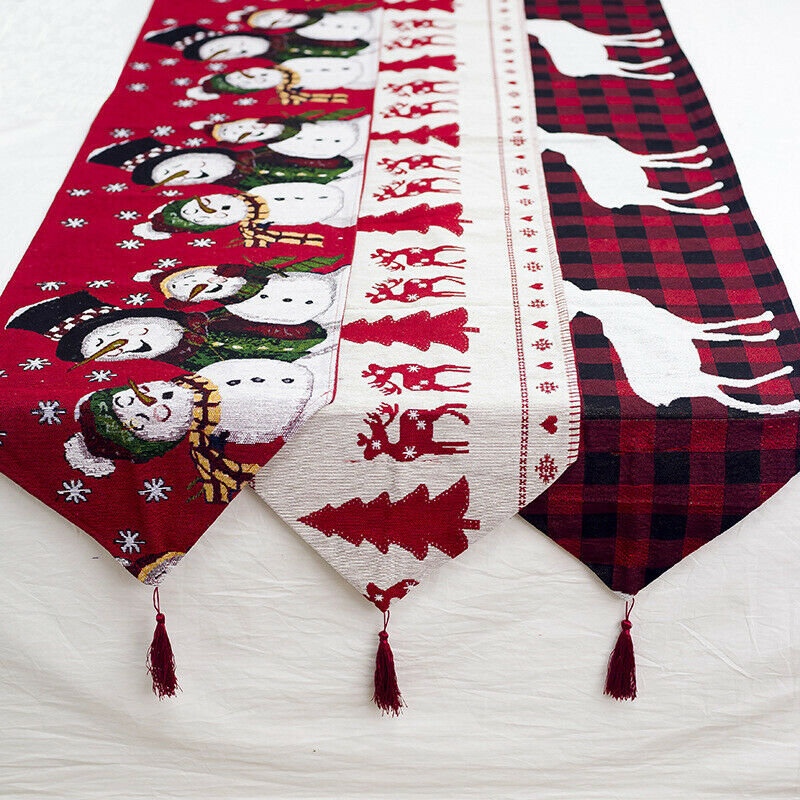 Creative European Christmas Decorations Cotton Linen Embroidery Christmas Table Flag Home Desk Decor