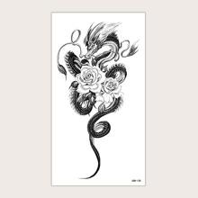 1sheet Flower & Dragon Pattern Tattoo Sticker