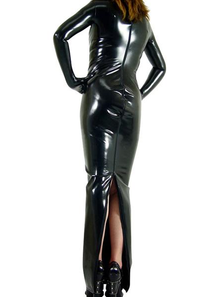 Milanoo Black PVC Catsuit Back Open Zipper Long Sleeves Cheongsam Gown