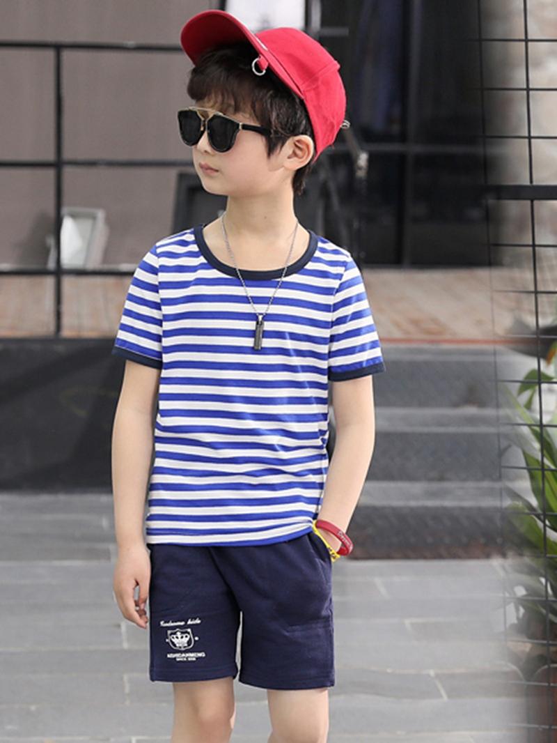 Ericdress Letter Stripe T Shirt Plain Shorts Boy's Summer Outfits