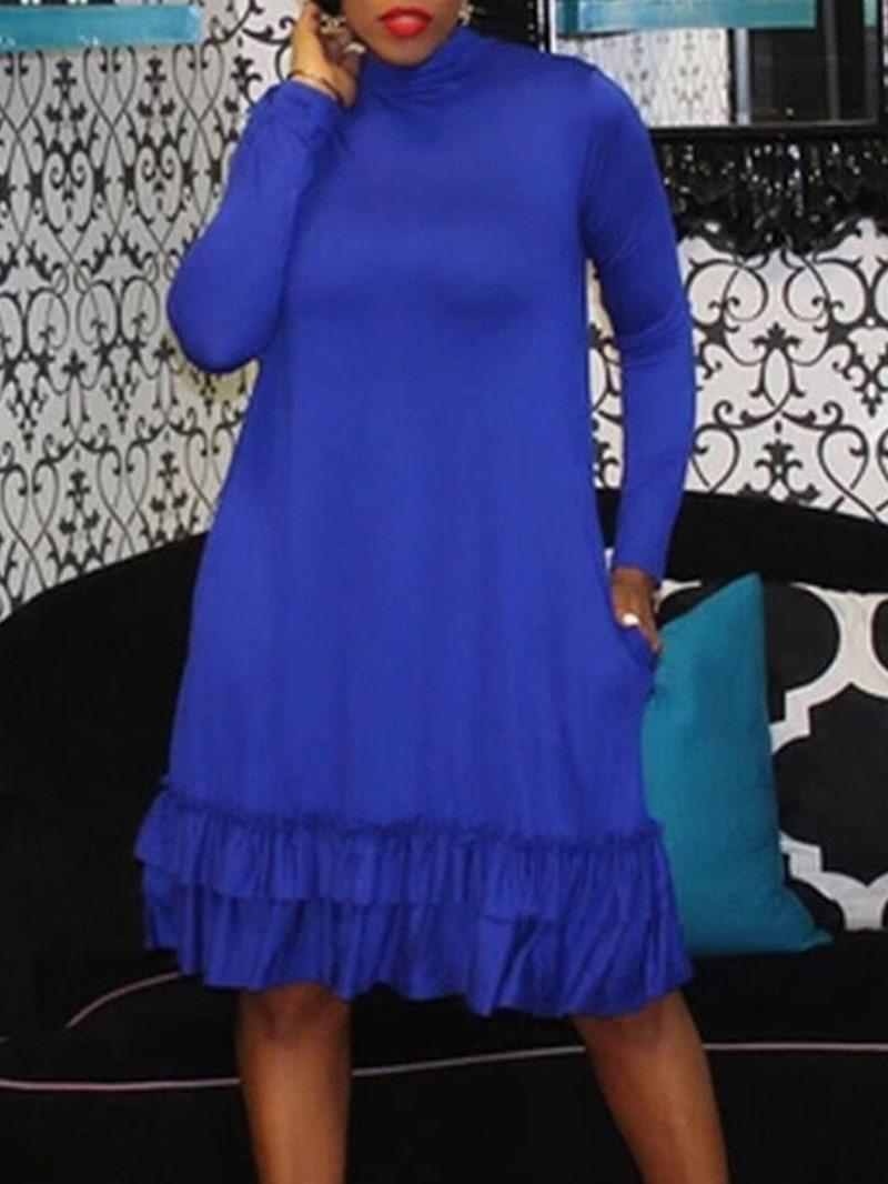 Ericdress Pleated Stand Collar Knee-Length Plain Spring Dress