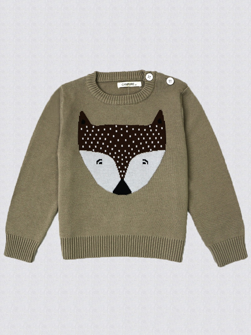 Ericdress Fox Print Round Neck Long Sleeve Baby Girl's Sweater