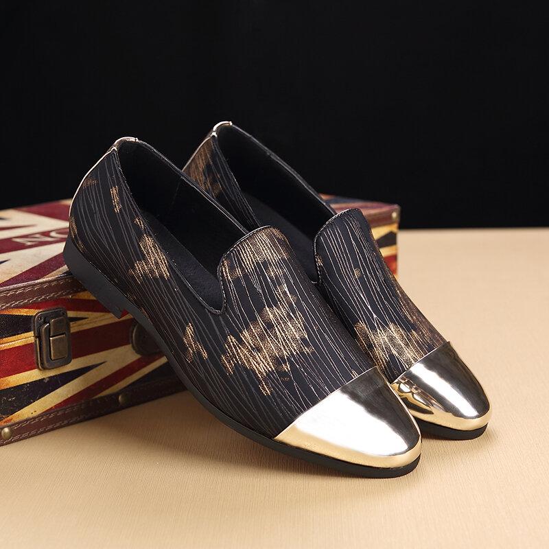 Men Micorfiber Stripe Detial Cap Toe Slip Resistant Slip On Leather Formal Shoes
