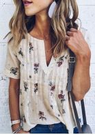 Floral V-Neck Short Sleeve Blouse without Necklace