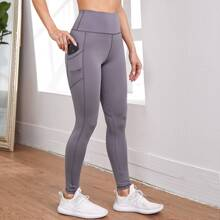 Topstitching Sports Leggings With Phone Pocket