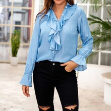 Button Front Ruffle Trim Top