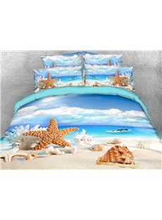 Starfish and Shells 3D Beach Scenery Comforter Soft Lightweight Warm 5-Piece Comforter Sets
