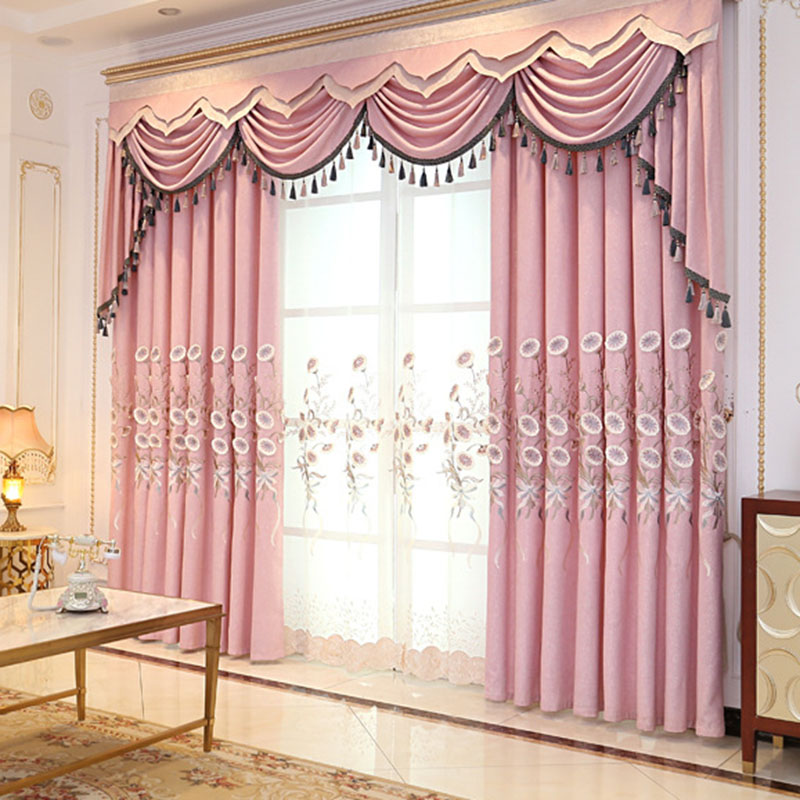 Pastoral Morning Glory Embroidered Sheer Curtains for Living Room Custom 2 Panels Breathable Drapes No Pilling No Fading No off-lining