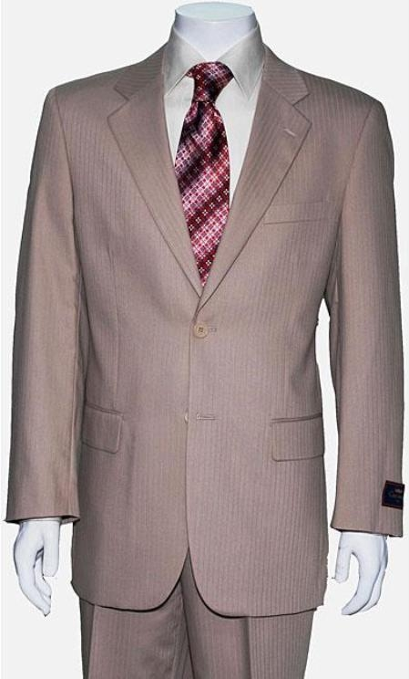 Mens Two Button Tan Shadow Stripe Suit