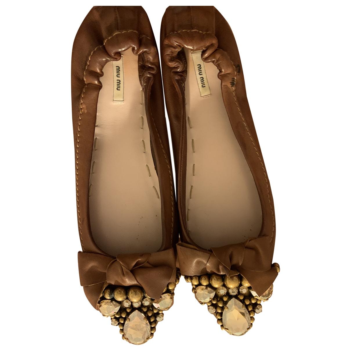 Miu Miu \N Brown Leather Ballet flats for Women 36.5 EU