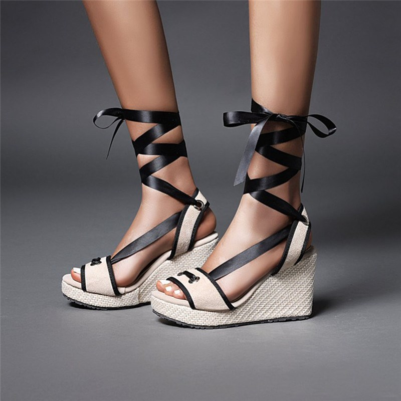 Ericdress Open Toe Wedge Heel Ankle Strap Cross Strap Sandals