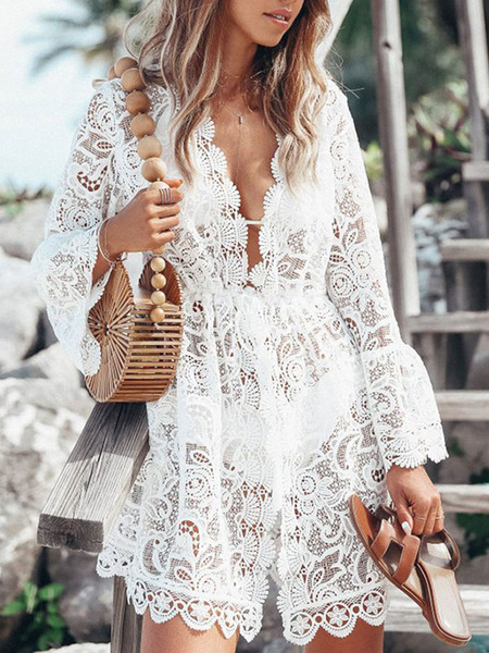 Milanoo Women Cover Ups White Lace Lace V Neck Long Sleeves Semi-Sheer Lace Summer Beach Bathing Suits