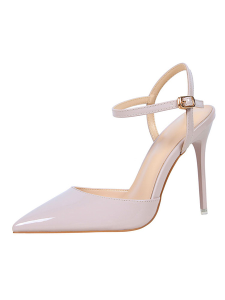 Milanoo Nude High Heels Pointed Toe Buckle Detail Slingbacks Pumps Women Dress Shoes