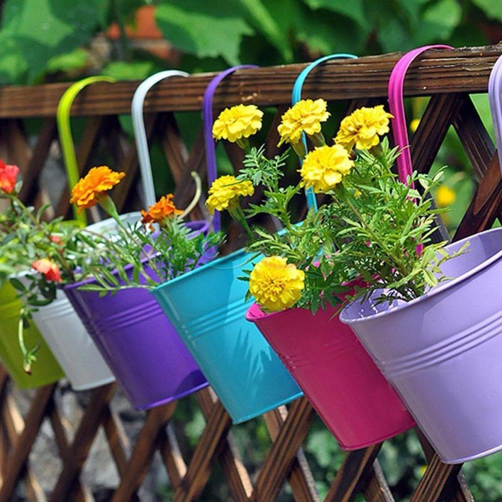 10PCS 10 Colours Fashion Metal Iron Flower Pot Hanging Balcony Garden Plant Planter Home Decor