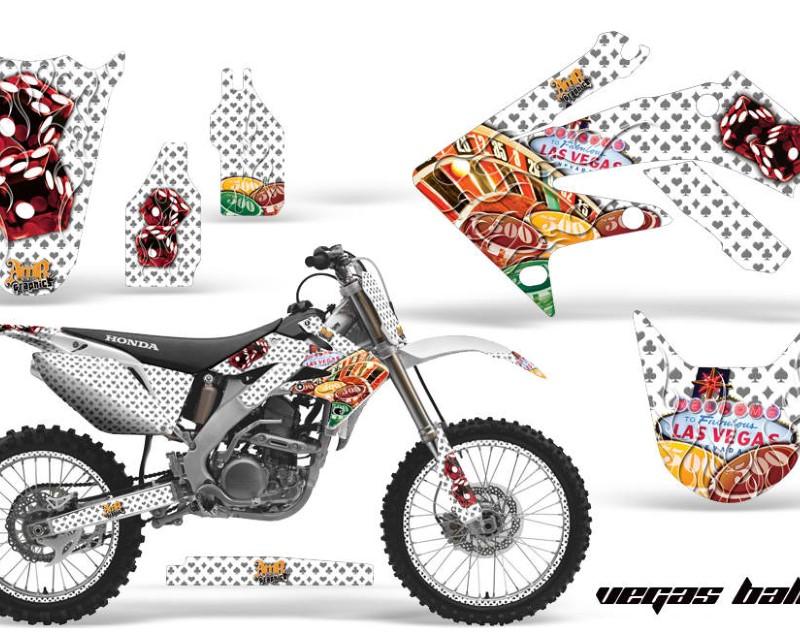 AMR Racing Graphics MX-NP-HON-CRF250R-04-09- Kit Decal Sticker Wrap + # Plates For Honda CRF250R 2004-2009 BONES WHITE