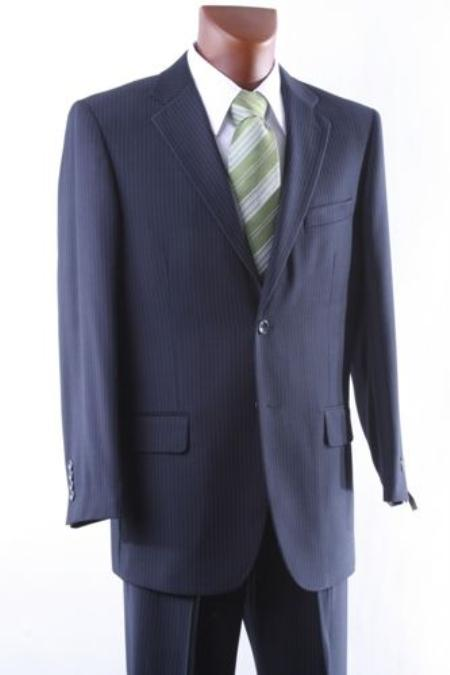 Mens 2 Button Navy Pinstripe Dress Suit Single Pleat