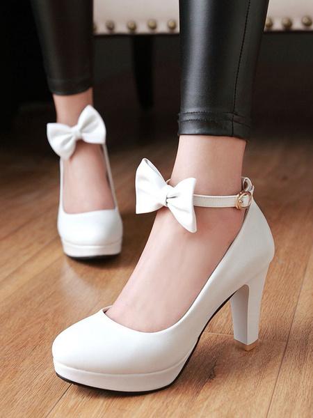 Milanoo Classic Lolita Pumps Bow Ankle Strap Platform Lolita Heels