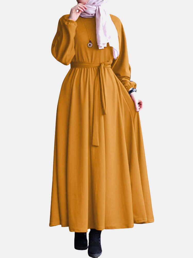 Solid Color Tie Waist Long Sleeve Casual Maxi Dress For Women