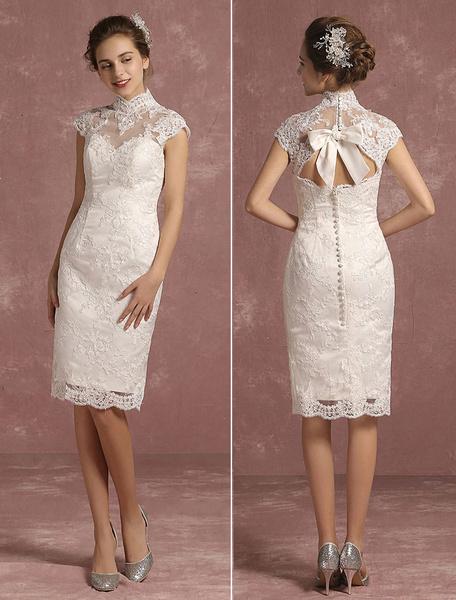 Milanoo Summer Wedding Dresses 2020 Lace Short High Collar Bridal Gown Illusion Sheath Sleeveless Bow Keyhole Knee Length Bridal Dress