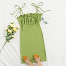 Knot Shoulder Frill Trim Rib-knit Bodycon Dress