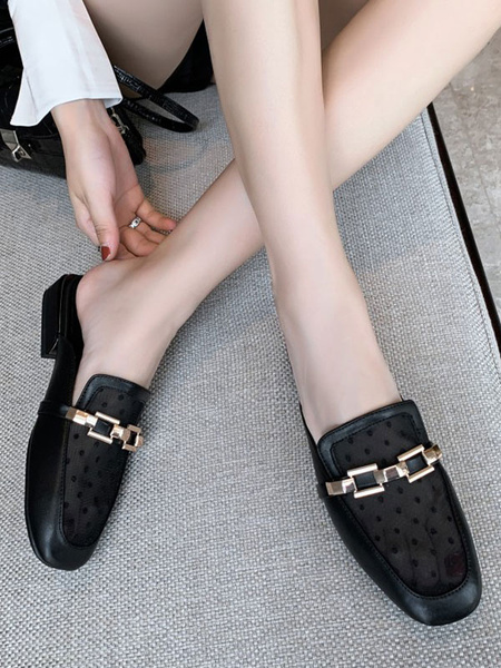 Milanoo Black Mule Loafers Women PU Leather Square Toe Metal Detail Slip-On Shoes