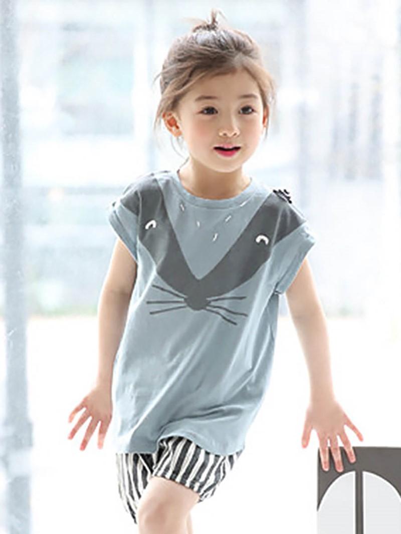 Ericdress Cartoon T-Shirt Shorts 2-Pcs Girls Outfit