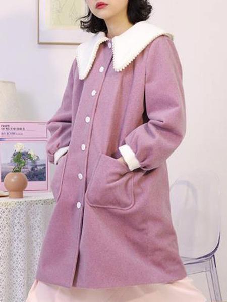 Milanoo Sweet Lolita Coats Soft Pink Synthetic Winter Lolita Outwears