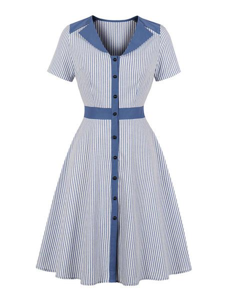 Milanoo Vestido vintage de rayas Botones de mujer de los años 50 Vestido de manga corta con vuelo