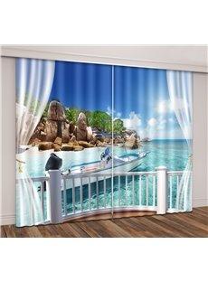 3D Tropical Seaside Island Travel Yacht Printed Curtain