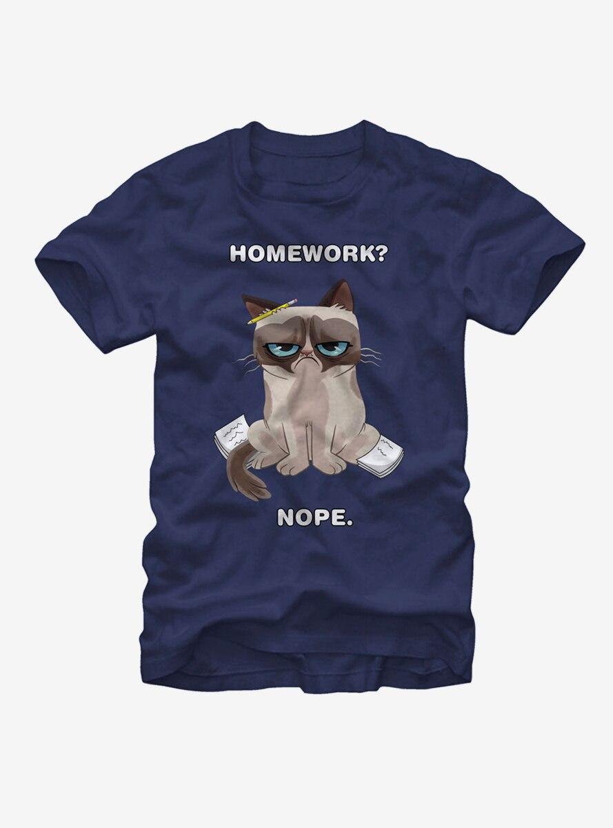 Grumpy Cat Homework Nopework T-Shirt