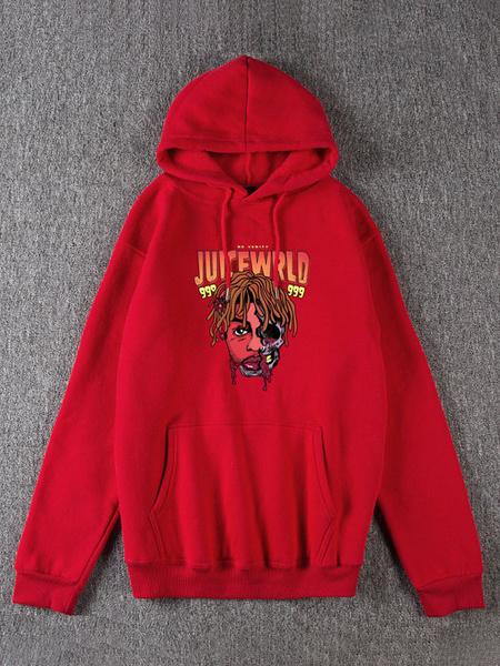 Milanoo Graphic Hoodie Long Sleeves Print Oversized Hooded Sweatshirt