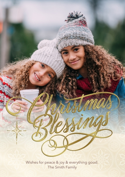 Christmas Photo Cards Flat Matte Photo Paper Cards with Envelopes, 5x7, Card & Stationery -Golden Christmas Blessings