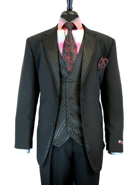 Mens 2 Button Single Breasted Notch Lapels Suit Jacket