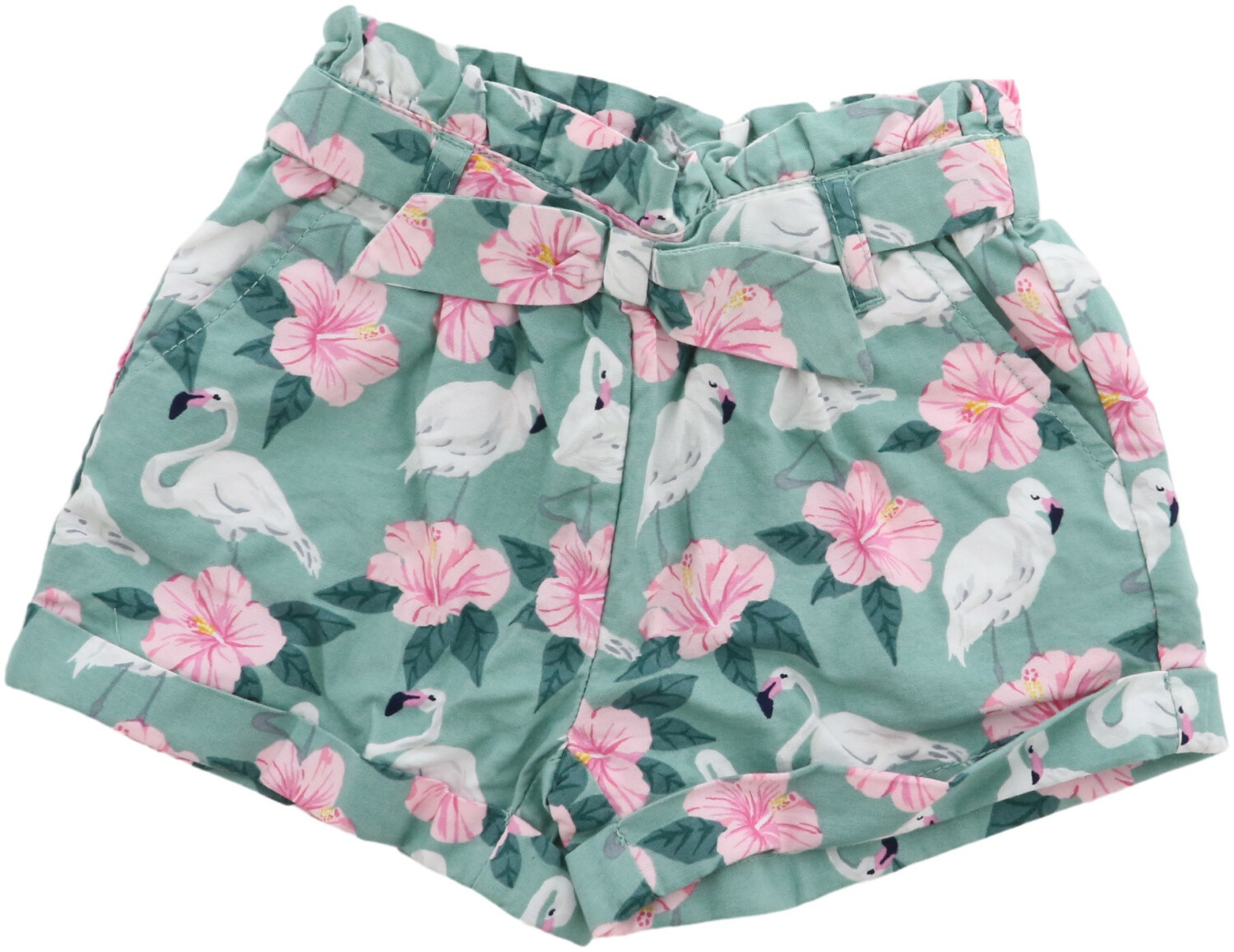 Janie And Jack Girl's Sage Flamingo Hibiscus Print Short - 3-6 Months