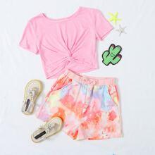 Girls Twist Hem Top and Slant Pocket Tie Dye Shorts Set