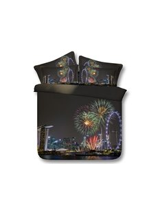 Cityscape and Fireworks Printed 3D 4-Piece Bedding Sets/Duvet Covers