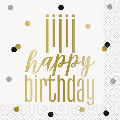 Metallic Happy Birthday Beverage Napkins, 16ct Pour la fête d'anniversaire